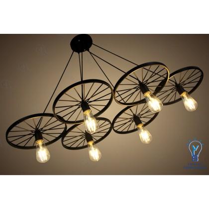 VLS Bicycle Iron 6 Wheels Retro Vintage Hanging Pendant light 3244/6 E27 (2 Years Warranty) + Free Bulb