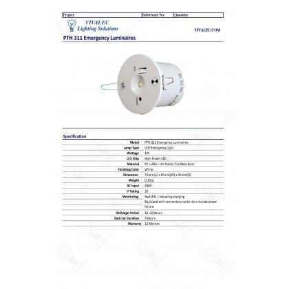 PNE PTH-311 1W High Power Emergency Light Conceal Recessed Round SIRIM Lampu Kecemasan